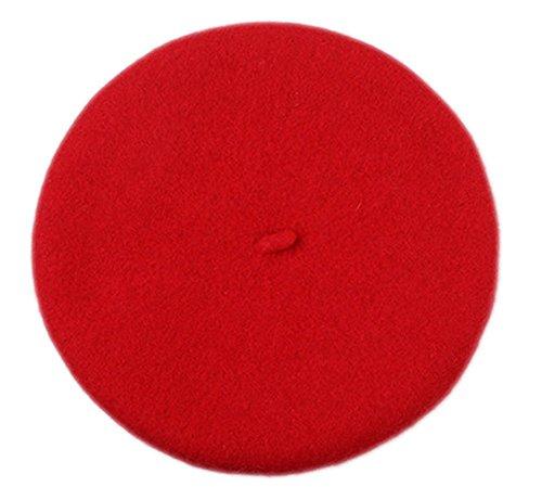 Demarkt Kinder Barett Mütze Mädchen Baskenmütze Französische Baskenmützen Kindermütze Prinzessinhut (Rot)