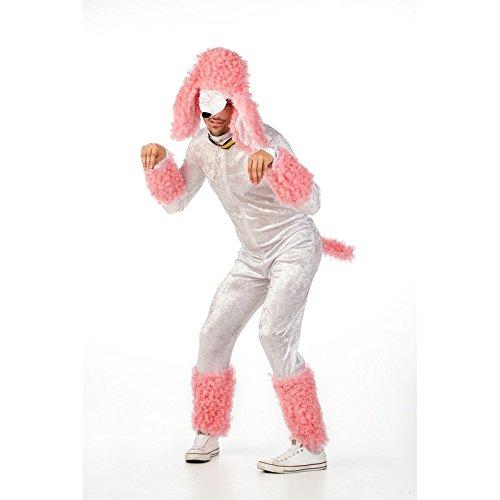 Süßer Pudel Party Fun Kostüm Herren weiß-rosa 2-tlg. Overall mit Kopfbedeckung - S