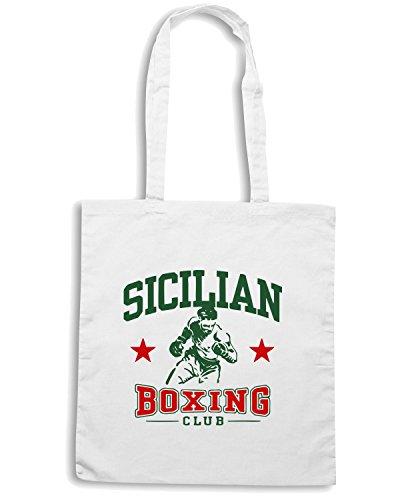 T-Shirtshock - Borsa Shopping TSTEM0087 sicilian boxing Bianco