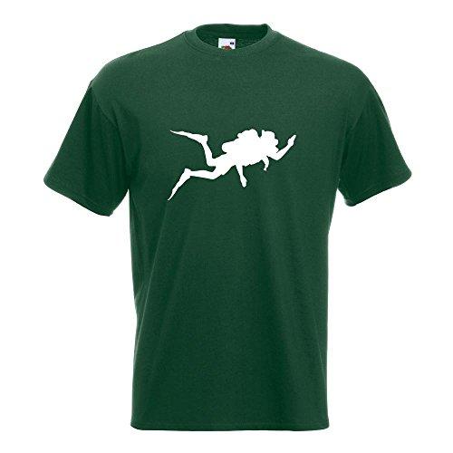 KIWISTAR - Taucher Silhouette T-Shirt in 15 verschiedenen Farben - Herren Funshirt bedruckt Design Sprüche Spruch Motive Oberteil Baumwolle Print Größe S M L XL XXL Flaschengruen