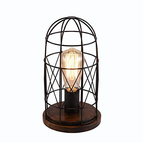 delle pour bois Retro Lampe de table lampe de chevet en bois massif avec abat-jour en tissu Mini table Lampe pour salon, chambre à coucher, chambre d'enfant, bibliothèque