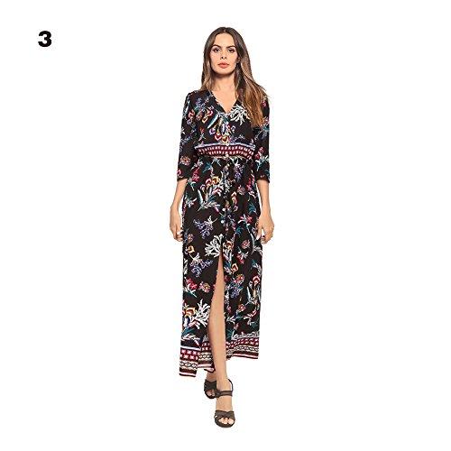 396a9331cb7908 Kleider Boho Sommerkleid V-Ausschnitt Damen Vintage Strand Blumen Maxikleid  Langarm Strandkleid Lang.