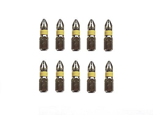 Jjw-germany 10pezzi phillips professionale punte pozidriv pz 2x 25mm, in acciaio speciale antiurto, nichelato