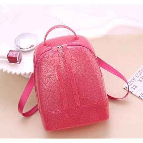 Nuevo medio tama?o mochila de oleada de jalea bolsa color caramelo cristal bolsos mujer , pink