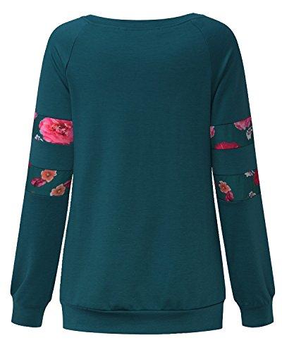 StyleDome Damen Floral Patch Shirt Lange Ärmel Locker Tops Casual Bluse Stretch Oversize Oberteil Junpers Grün