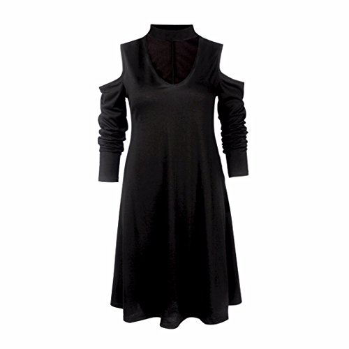 QIYUN.Z Femmes V Épaule Froide Manches Longues Swing Robe Noir