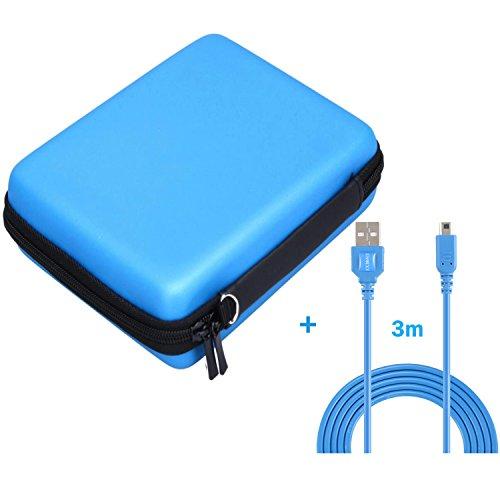 Exlene® Nintendo 2DS Hard EVA Carrying Case Cover Bag + 3M usb cable de carga para Nintendo 2ds, bolsa de protección de viaje de almacenamiento de la cubierta con 8 cartuchos de cartucho de juego (azul)