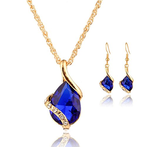 Cebbay Wedding Jewelry Set, Water Drops Shape Crystal Pendant Necklace + 1 pair Earrings, Cheap Stuff