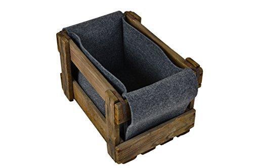 Filz-Kult Holzkorb, Aufbewahrungsbox, 28 x 40 x 25 cm, Farbe wählbar, Kaminholz, Geschenkkorb, Spielzeugkiste, Filz: grau -