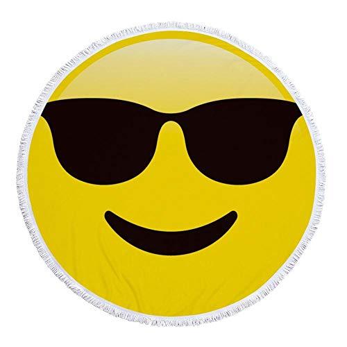 JUNYZSTJ Rundes Strandtuch,Schwarze Sonnenbrille Cartoon Ausdruck Kunst Dicke Decke Große Mikrofaser Terry Beach Roundie Kreis Picknick Teppich Yoga Matte Mit Quaste - Gecko Yoga-matte