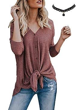 BUOYDM Mujer Cárdigan de Punto Irregular Tops con Botones Jersey Casual Camisetas de Manga Larga Suéter