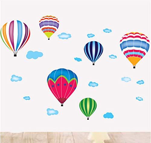 Zxfcczxf Diy Bunte Heißluftballon Wandaufkleber Für Kinderzimmer Wolken Dekoration Schlafzimmer Kindergarten Klassenzimmer Abnehmbare Tapete 40 * 70 Cm
