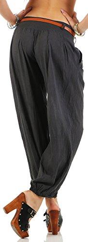 malito Pumphose mit Gürtel Stoffhose Uni-Farben 6017 Damen Dunkelgrau
