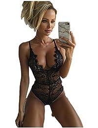 Lencería Erótica de Mujer, Ropa Interior de Encaje Sexy Malla Body Babydoll Conjunto Tanga Rojo