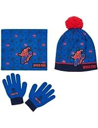 Ensemble Snood, bonnet et gants enfant garçon Spider-man Bleu de 3 à 8ans 24a9deb1f34