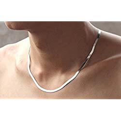 SHIHAN Men/Women Snake Chain Necklace silver plated necklace Flat chain 45cm by Shihan
