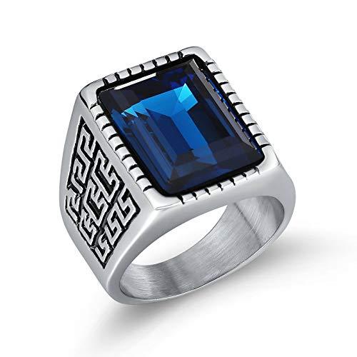 Blisfille Herrenring Silber Edelstahl Ring Herren Osmanisch Retro Rechteckiger Edelstein Große Wand Mter Blau Gr. 65 (20.7) -