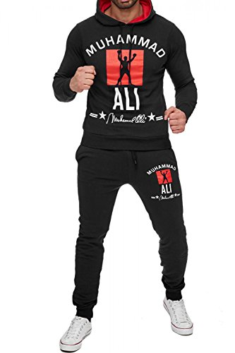 Herren Trainingsanzug Zweiteiler Boxing Jogginganzug Muhammad Ali, Farben:Schwarz, Größe Pullover:M
