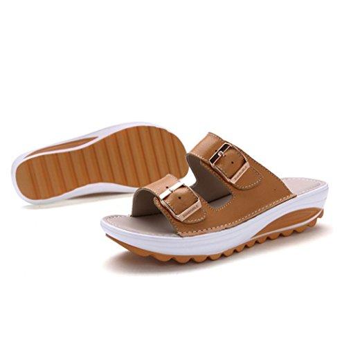 WZG Neue Sommerschuhe Leder komfortable weiche Unterseite flachen Sandalen Studenten Sandalen und Pantoffeln für Frauen Yellow