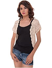 d47ba60eb2 Looks Lane Women s Waist Length Floral Handmade Crochet Shrug with Short  Sleeves (CROQ-0011