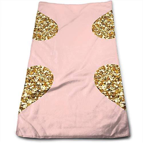 Fine Light Pink Glitter (DDHHFJ Gold Glitter Hearts On Pink Microfiber Kitchen Towels - Super Absorbent Dish Towels - Tea Towels(12 X 27.5 Inch))
