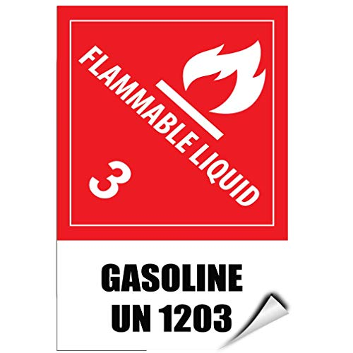Label Decal Sticker Flammable Liquid 3 Gasoline Un 1203 Hazard Sign Durability Self Adhesive Decal Uv Protected & Weatherproof (Liquid-label Flammable)