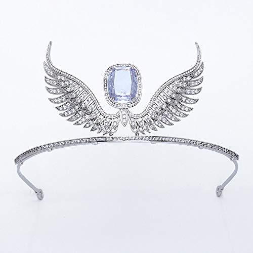 roroz Silber Crystal Bridal Crown Prom Festzüge, Brautschmuck, Hochzeit Tiara Angel Wings Persönlichkeit Stirnband Zubehör europäischen und amerikanischen Braut,Copperplatedplatinum
