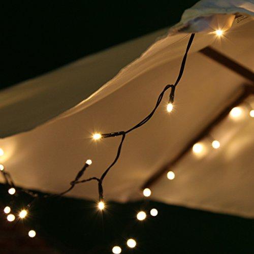 Festive Lights SL044 solarbetriebene Outdoor LED Lichterkette - ca. 5m - 50 LEDs in warmweiß - inkl. Solarpaneel & Dämmerungsschalter