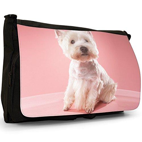 Per Tela Highland borsa Dog Terrier On Messenger Grande scuola tracolla Westie Dog Borsa Pink Nera West a Laptop 8wqH8