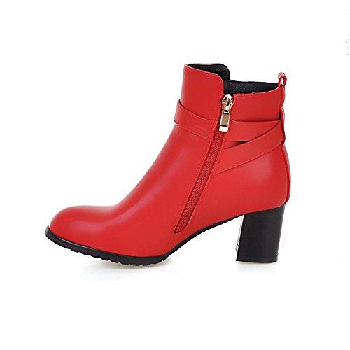 VogueZone009 Donna Cerniera Tacco Medio Puro Bassa Altezza Stivali con Metallo Rosso