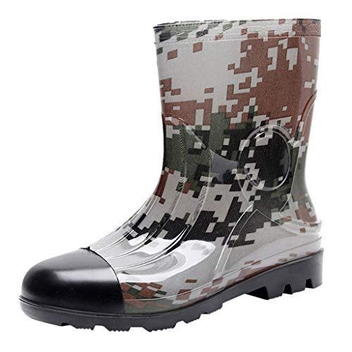 Hotsell〔☀ㄥ☀〕 Wellington Boots Mens, Safety Wellington Boot - Heavy Duty Safety Boot - Steel Toe Cap Wellies - Camouflage - Wide-Calf Half-Height Wellies