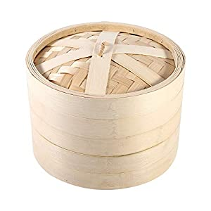 Fdit 4 Größen 2 Ebenen Bambus Dampf Korb für Reis chinesischen natur Kochen Herd mit Gemüse Meeresfrüchte, 22 x 15 cm/8…