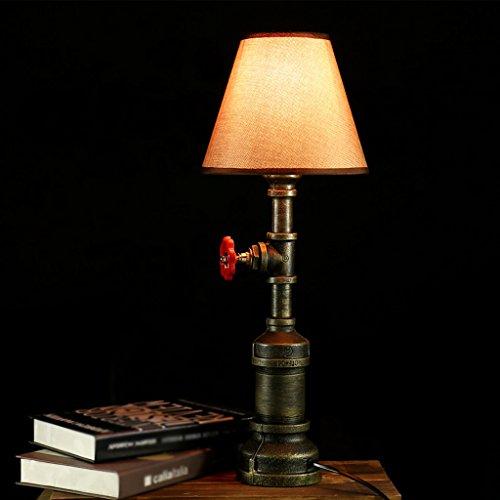 LILY Weinlese-industrielles Steampunk LED-Tabellen-Lampen-Licht-Wasser-Rohr-rustikales Bedside-Eisen-Unterseite Modernes antikes Retro- Tabellen-Licht (Birnen nicht eingeschlossen) E27 (Tabelle Lampen Traditionellen)