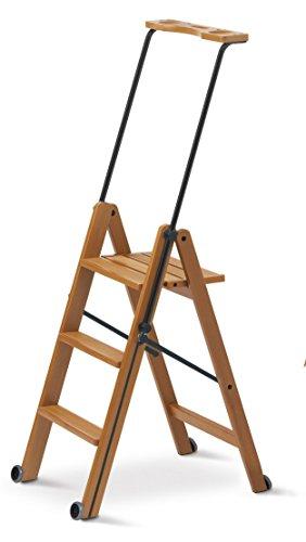 Arredamenti Italia Escalera 3 peldaños TUSCANIA, madera - Plegable - Con sistema de seguridad - Color madera de cerezo Ar-It il cuore del legno