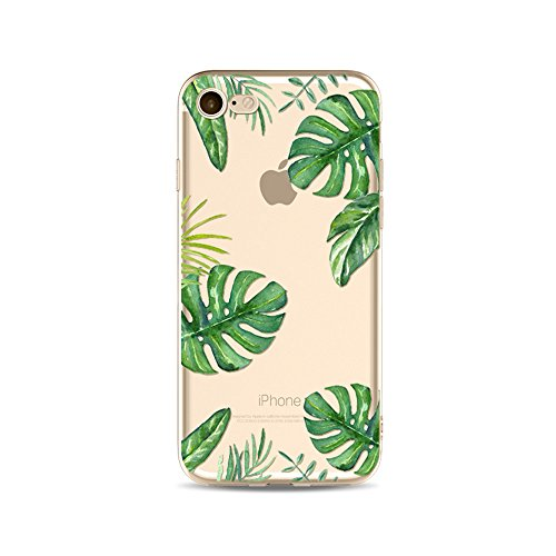 "Coque iPhone 7 Etui Housse,BoomTeck Coque Pour 4.7"" Apple iPhone 7 Silicone Souple Transparente Motif Clear Ultra Mince Anti Choc Anti-rayures Gel TPU Etui Protection Bumper Case - Tropical Hawaïen Fe 19"