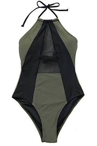 CUPSHE Stehl Mein Herz Masche Badeanzug, Army Grün Schwarz, S