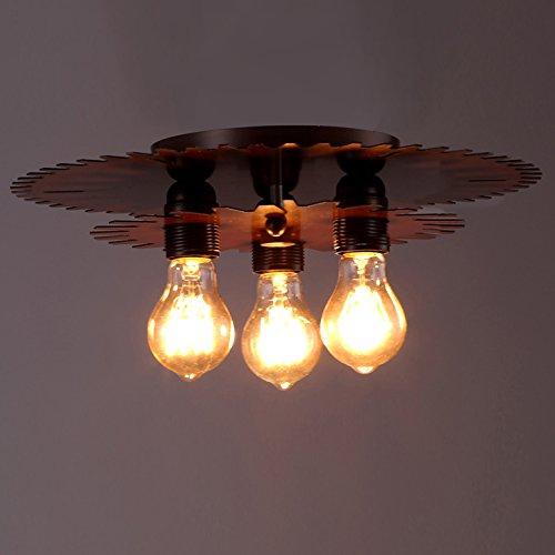 BAYCHEER Industrielampe Deckleuchte Deckenlampe 3 Flammige Lampenfassung Schmiedeeisen Lampe Kronleuchte Pendellampe
