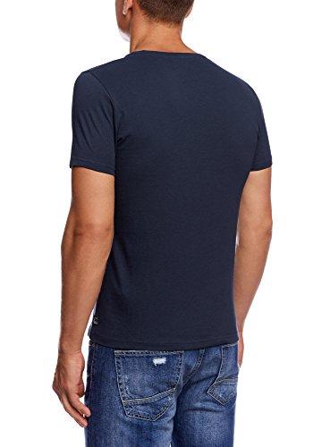 oodji Ultra Herren T-Shirt mit Druck Blau (7910P)
