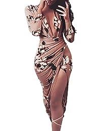 Vestidos de invierno,Dragon868 Otoño Invierno Floral Floral Bodycon Mujer Vestidos de Fiesta