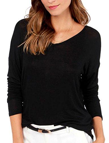 Ghope Damen Sexy Rückenfrei Langarmshirt Schwarz Oversize Baumwolle T-Shirt Bluse mit Schleife am Rücken,S-6XL Schwarz