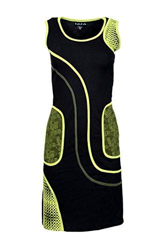 Frauen schwarz und grün ärmelloses Kleid mit Seitentasche - HARIYALI Grün