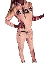 ISSHE Ensemble Survetement Femme Ensemble Jogging Sport Femme Sweat Shirt à Capuche Sweatshirt Survêtements Ensembles Hoodie Imprimé Sweat-shirt à Capuches Pull Shirt + Pantalons Fille Hiver