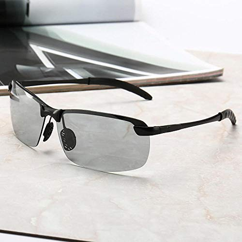 Lichtempfindliche Farbe Brille Sonnenbrille Männer Tag und Nacht Dual-Use-intelligente lichtempfindliche Farbwechsel Polarisator Sonnenbrille automatische Farbwechsel Sonnenbrille weibliche Fahr Silb