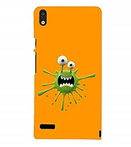 Fuson Designer Back Case Cover for Huawei Ascend P6 (Animated Cartoon charecter Funny Sharp teeth)