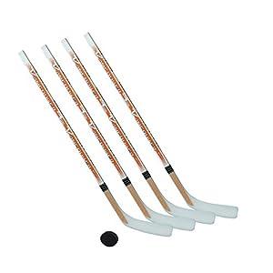 Eishockeyschläger-Set Junior 8: 4 Vancouver-Schläger 115cm gerade Kelle & Puck