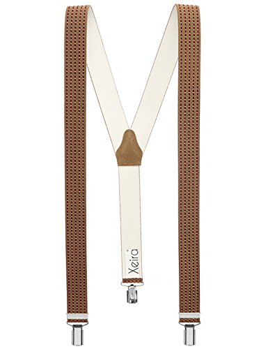 Hochwertige Hosenträger in Trendigen Design mit 3 stabilen Clips und Echt Leder Rückenteil - Verfügbar in vielen Designs (Braun / Bordeaux - 472)