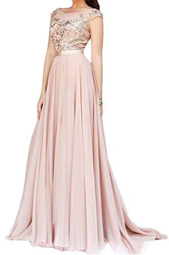La_mia Braut Dramatisch Spitze Chiffon V-ausschnitt Abendkleider Promkleider Abschlussballkleider Lang A-linie Neu Rosa