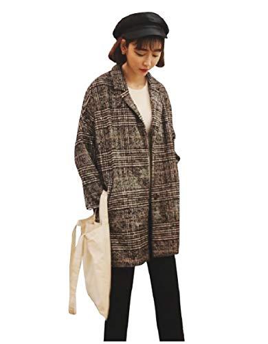 CuteRose Womens Plaid Loose Trench Wool Blends Oversize Long PEA Coat Grey L -