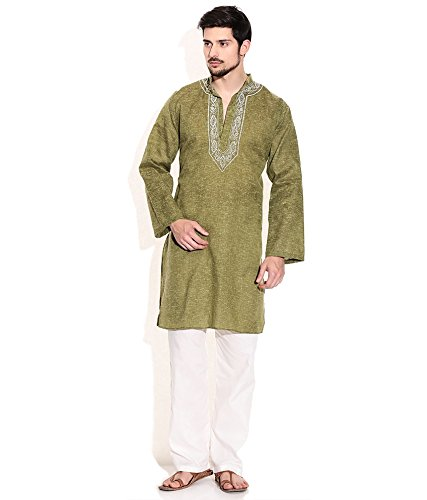Sai-Chikan-Mens-Smart-Green-Mixed-Cotton-Embroidered-Kurta