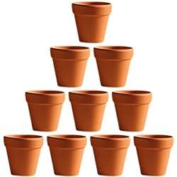OUNONA 10 Pcs Mini Pots D'argile Terre Cuite Céramique Pot Plante Récipient Pépinière Pots Succulents Cactus Plante pots - Idéal pour les Plantes, Artisanat, Faveur De Mariage, 3x3cm
